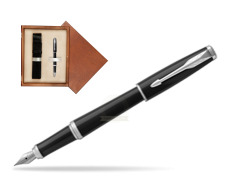 Parker Urban Black Cab CT Fountain Pen   single wooden box  Mahogany Single Ecru