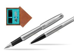Parker Urban Metro Metallic CT T2016 Fountain Pen + Ballpoint Pen in a Gift Box  double wooden box Mahogany Double Turquoise