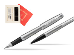 "Parker Urban Metro Metallic CT T2016 Fountain Pen + Ballpoint Pen in a Gift Box in Gift Box ""Red Love"""