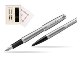 "Parker Urban Metro Metallic CT T2016 Fountain Pen + Ballpoint Pen in a Gift Box in Gift Box ""Pure Love"""