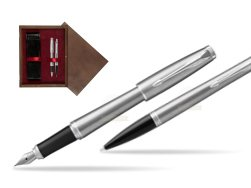 Parker Urban Metro Metallic CT T2016 Fountain Pen + Ballpoint Pen in a Gift Box  double wooden box Wenge Double Maroon