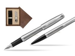 Parker Urban Metro Metallic CT T2016 Fountain Pen + Ballpoint Pen in a Gift Box  double wooden box Wenge Double Ecru
