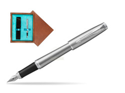 Parker Urban Metro Metallic CT Fountain Pen  in single wooden box  Mahogany Single Turquoise