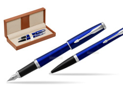 Parker Urban Nightsky Blue CT T2016 Fountain Pen + Ballpoint Pen in a Gift Box  in classic box brown