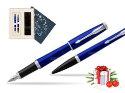 Parker Urban Nightsky Blue CT T2016 Fountain Pen + Ballpoint Pen in a Gift Box in Christmas Gift Box navy blue