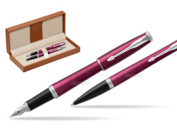 Parker Urban Vibrant Magenta CT Fountain Pen + Ballpoint Pen in a Gift Box  in classic box brown
