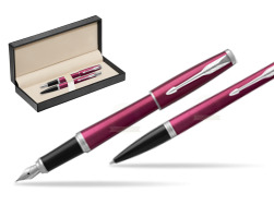 Parker Urban Vibrant Magenta CT Fountain Pen + Ballpoint Pen in a Gift Box  in classic box  pure black