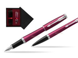 Parker Urban Vibrant Magenta CT Fountain Pen + Ballpoint Pen in a Gift Box  double wooden box Black Double Maroon