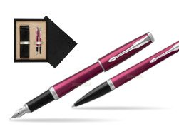 Parker Urban Vibrant Magenta CT Fountain Pen + Ballpoint Pen in a Gift Box  double wooden box Black Double Ecru