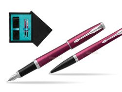 Parker Urban Vibrant Magenta CT Fountain Pen + Ballpoint Pen in a Gift Box  double wooden box Black Double Turquoise