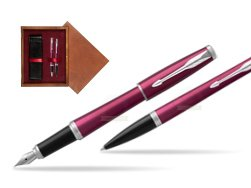 Parker Urban Vibrant Magenta CT Fountain Pen + Ballpoint Pen in a Gift Box  double wooden box Mahogany Double Maroon