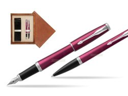 Parker Urban Vibrant Magenta CT Fountain Pen + Ballpoint Pen in a Gift Box  double wooden box Mahogany Double Ecru
