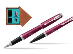 Parker Urban Vibrant Magenta CT Fountain Pen + Ballpoint Pen in a Gift Box  double wooden box Mahogany Double Turquoise