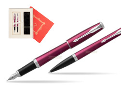 "Parker Urban Vibrant Magenta CT Fountain Pen + Ballpoint Pen in a Gift Box  ""Red Love"""
