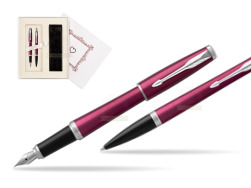 "Parker Urban Vibrant Magenta CT Fountain Pen + Ballpoint Pen in a Gift Box  ""Pure Love"""