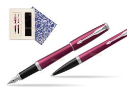 Parker Urban Vibrant Magenta CT Fountain Pen + Ballpoint Pen in a Gift Box  Universal Crystal Blue