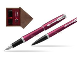 Parker Urban Vibrant Magenta CT Fountain Pen + Ballpoint Pen in a Gift Box  double wooden box Wenge Double Maroon