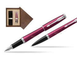 Parker Urban Vibrant Magenta CT Fountain Pen + Ballpoint Pen in a Gift Box  double wooden box Wenge Double Ecru
