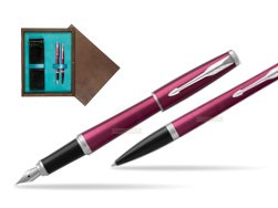 Parker Urban Vibrant Magenta CT Fountain Pen + Ballpoint Pen in a Gift Box in double wooden box Wenge Double Turquoise