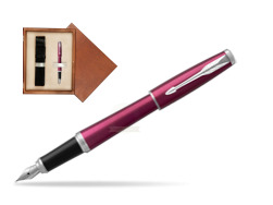 Parker Urban Vibrant Magenta CT Fountain Pen   single wooden box  Mahogany Single Ecru