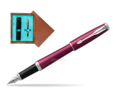 Parker Urban Vibrant Magenta CT Fountain Pen   single wooden box  Mahogany Single Turquoise