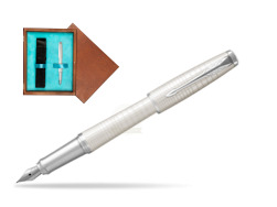 Parker Urban Premium Pearl Metal CT Fountain Pen  in single wooden box  Mahogany Single Turquoise
