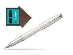 Parker Urban Premium Pearl Metal CT Fountain Pen  in single wooden box  Wenge Single Turquoise