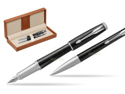 Parker Urban Premium New Ebony Metal CT Fountain Pen + Ballpoint Pen in a Gift Box  in classic box brown