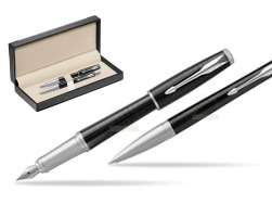 Parker Urban Premium New Ebony Metal CT Fountain Pen + Ballpoint Pen in a Gift Box  in classic box  black