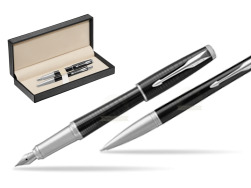 Parker Urban Premium New Ebony Metal CT Fountain Pen + Ballpoint Pen in a Gift Box  in classic box  pure black