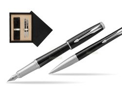 Parker Urban Premium New Ebony Metal CT Fountain Pen + Ballpoint Pen in a Gift Box  double wooden box Black Double Ecru