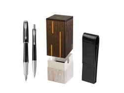 Parker Urban Premium New Ebony Metal CT Fountain Pen + Ballpoint Pen in a Gift Box in gift box StandUP Matrix