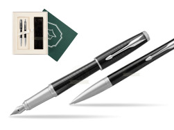 "Parker Urban Premium New Ebony Metal CT Fountain Pen + Ballpoint Pen in a Gift Box  ""Science"""