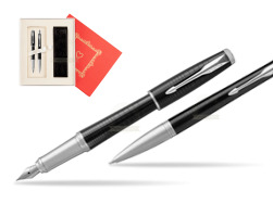 "Parker Urban Premium New Ebony Metal CT Fountain Pen + Ballpoint Pen in a Gift Box  ""Red Love"""