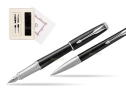 "Parker Urban Premium New Ebony Metal CT Fountain Pen + Ballpoint Pen in a Gift Box  ""Pure Love"""