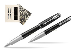Parker Urban Premium New Ebony Metal CT Fountain Pen + Ballpoint Pen in a Gift Box in Standard Gift Box