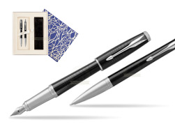 Parker Urban Premium New Ebony Metal CT Fountain Pen + Ballpoint Pen in a Gift Box  Universal Crystal Blue