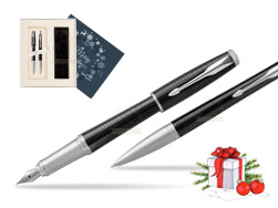 Parker Urban Premium New Ebony Metal CT Fountain Pen + Ballpoint Pen in a Gift Box in Christmas Gift Box navy blue