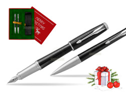 Parker Urban Premium New Ebony Metal CT Fountain Pen + Ballpoint Pen in a Gift Box in Christmas Gift Box red
