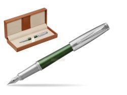 Parker Urban Premium Green CT Fountain Pen   in classic box brown