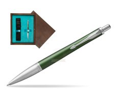 Parker Urban Premium Green CT Ballpoint Pen in single wooden box  Wenge Single Turquoise