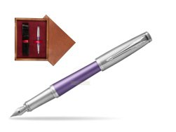 Parker Urban Premium Violet CT Fountain Pen   single wooden box Mahogany Single Maroon