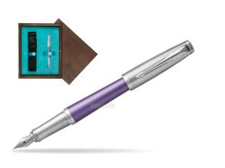 Parker Urban Premium Violet CT Fountain Pen   single wooden box  Wenge Single Turquoise