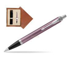 Parker IM Light Purple CT Ballpoint Pen  single wooden box  Mahogany Single Ecru