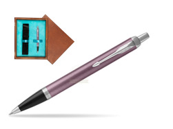 Parker IM Light Purple CT Ballpoint Pen  single wooden box  Mahogany Single Turquoise