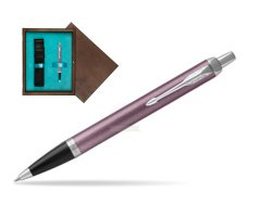 Parker IM Light Purple CT Ballpoint Pen  single wooden box  Wenge Single Turquoise
