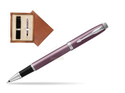 Parker IM Light Purple CT Rollerball Pen  single wooden box  Mahogany Single Ecru