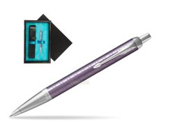 Parker IM Premium Dark Violet CT Ballpoint Pen  single wooden box  Black Single Turquoise