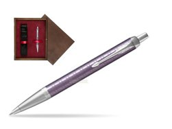 Parker IM Premium Dark Violet CT Ballpoint Pen  single wooden box  Wenge Single Maroon