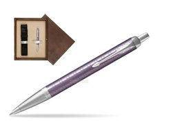 Parker IM Premium Dark Violet CT Ballpoint Pen  single wooden box  Wenge Single Ecru
